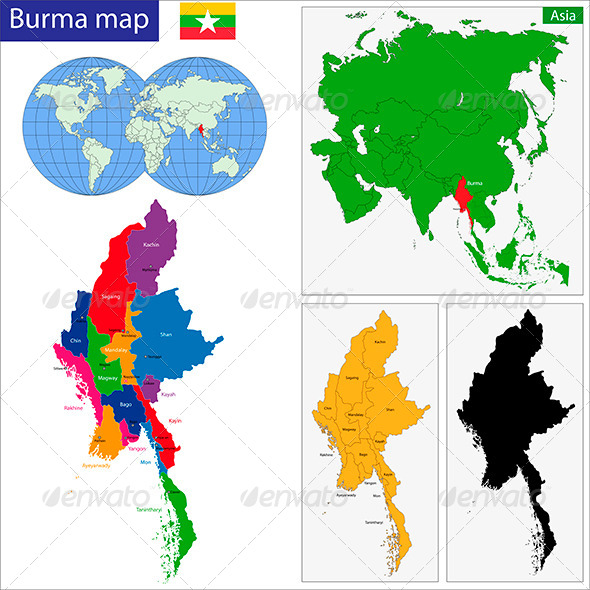 Burma Map - Travel Conceptual