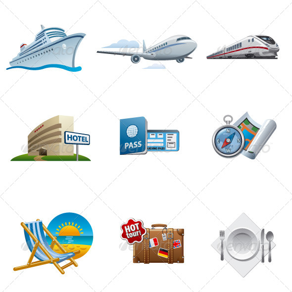 Travel Icon Set - Man-made objects Objects