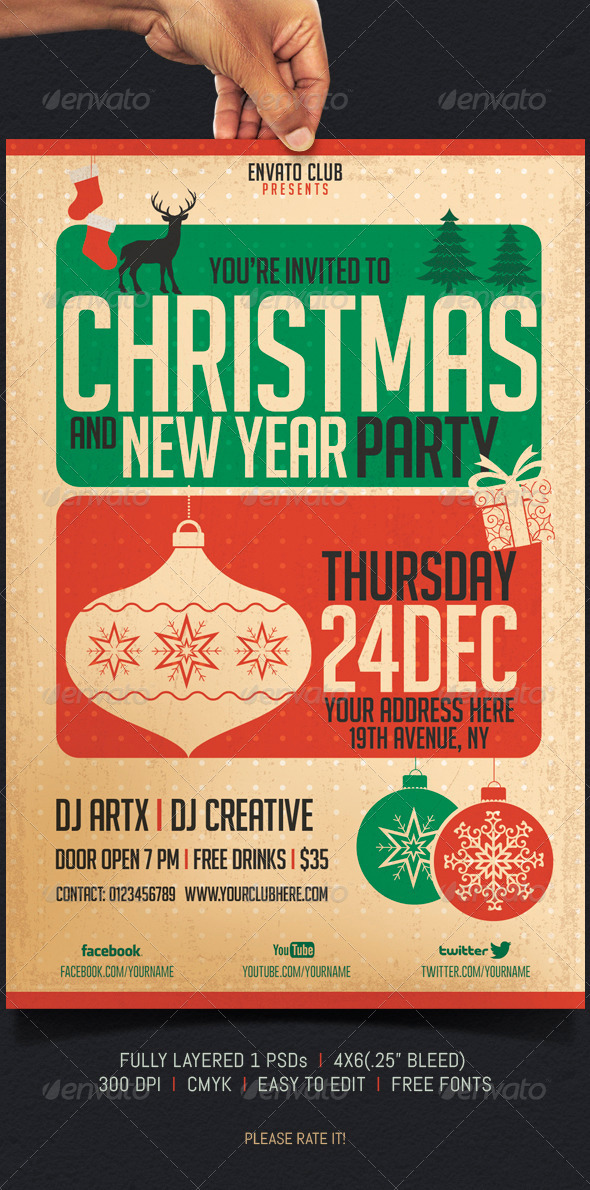 Christmas and New Year Party - Events Flyers