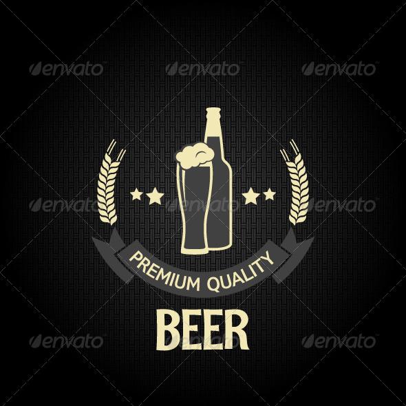 Beer Glass Bottle Dark Background - Food Objects
