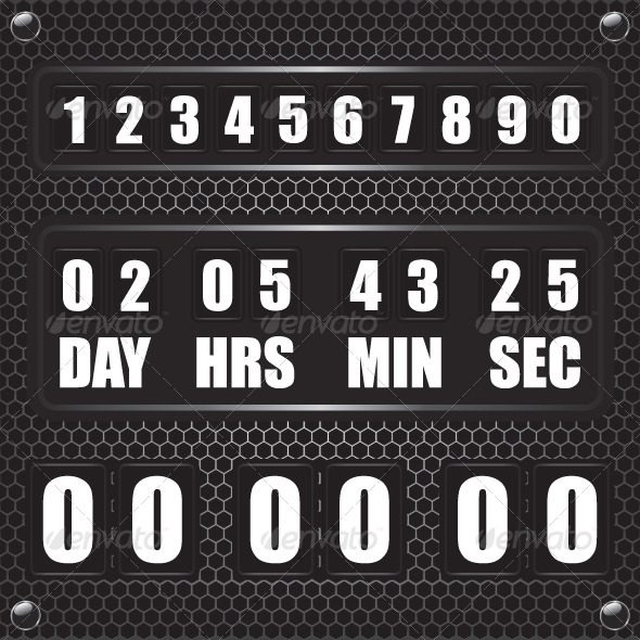 Countdown Timer on Octagon Metal Background - Technology Conceptual