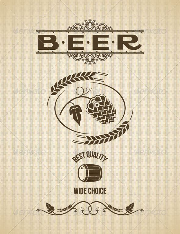 Beer Vintage Label Design Background - Food Objects