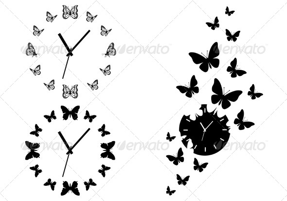 Time Flies, Butterfly Clocks, Vector Set - Animals Characters
