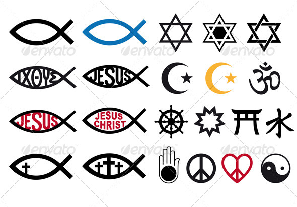 Religious Symbols Religion Signs Vector Set By Amourfou Graphicriver