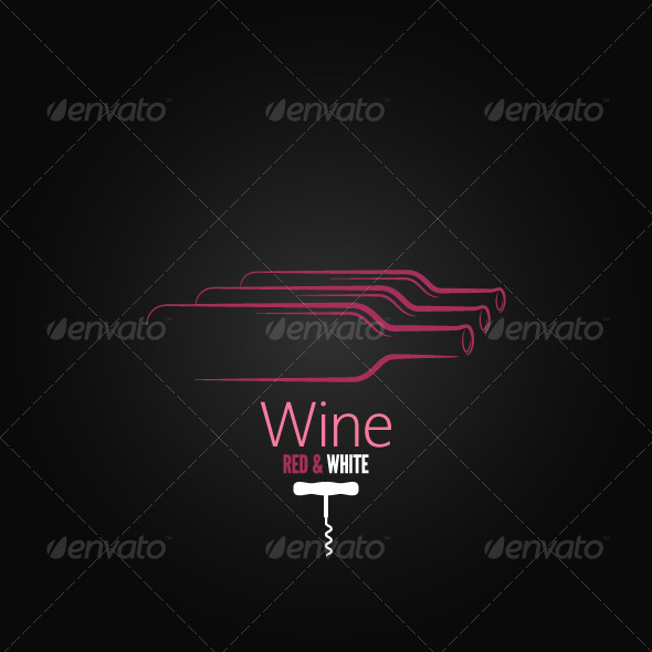 Wine Bottle Corkscrew Design Background - Food Objects