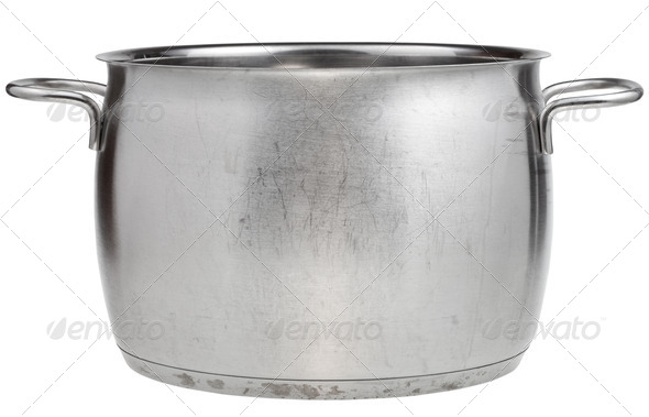side view of big stainless steel saucepan - Stock Photo - Images