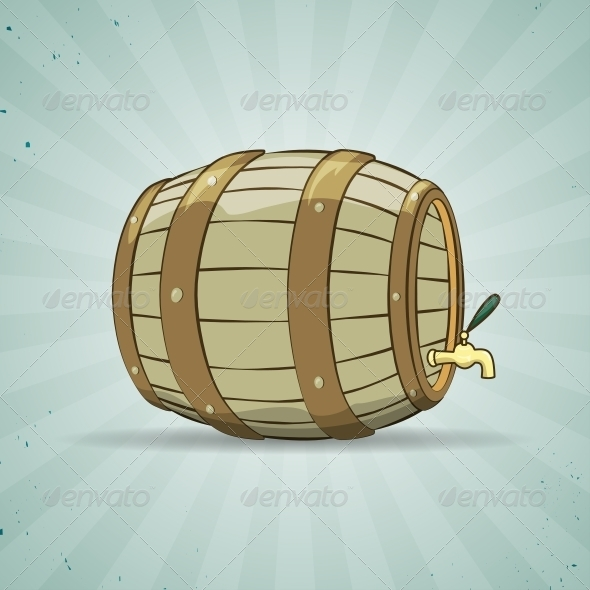 Wooden Barrel filled with Beer or Wine - Food Objects