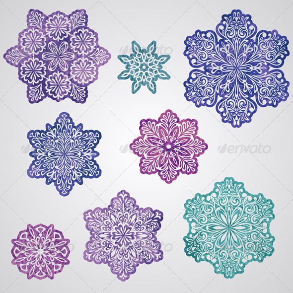 Vector Paper Cut Watercolor Snowflakes - Seasons/Holidays Conceptual