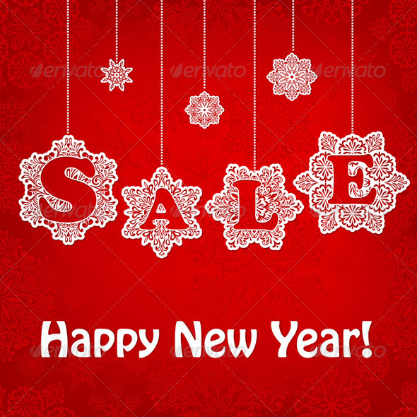 Vector New Year Sale Placard - Commercial / Shopping Conceptual