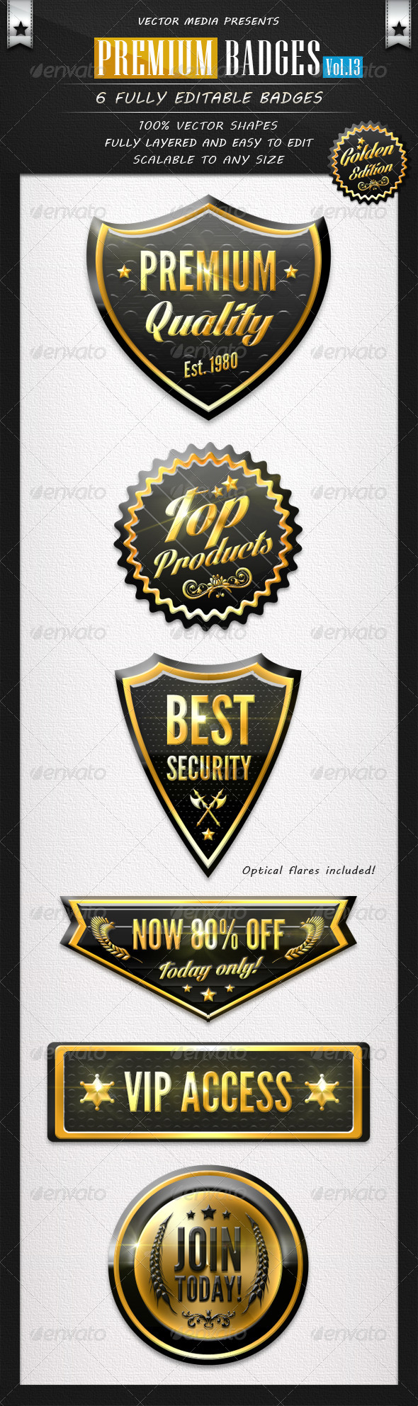 Premium Badges - Vol.13 - Badges & Stickers Web Elements