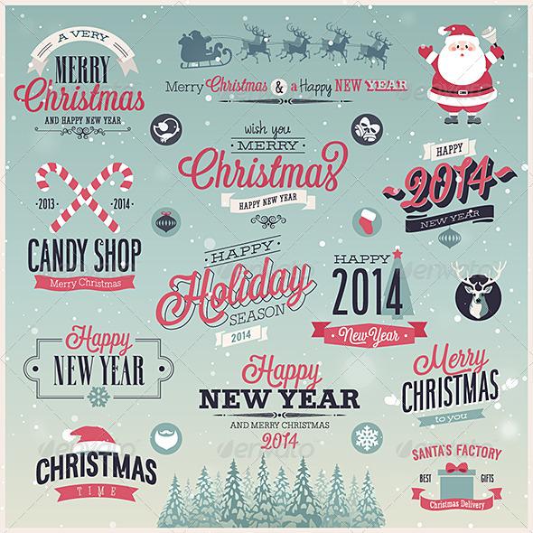 Christmas Set - Labels and Emblems. - Christmas Seasons/Holidays