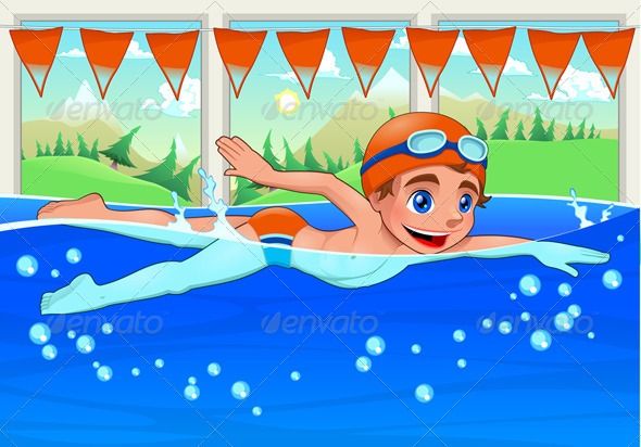 Young Swimmer in the Swimming Pool - Sports/Activity Conceptual