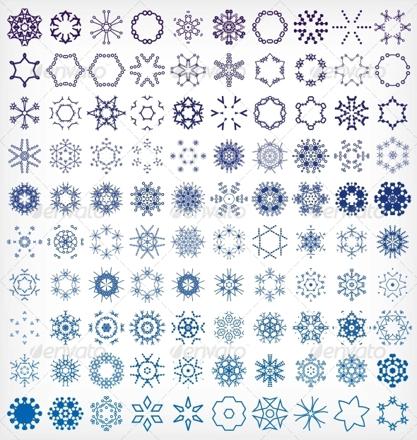 Set of Winter Snowflake Icons - Christmas Seasons/Holidays