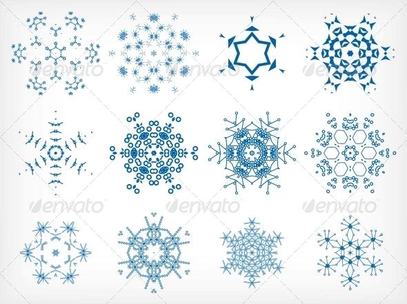 Set of Isolated Snowflakes for Christmas Decor - Christmas Seasons/Holidays