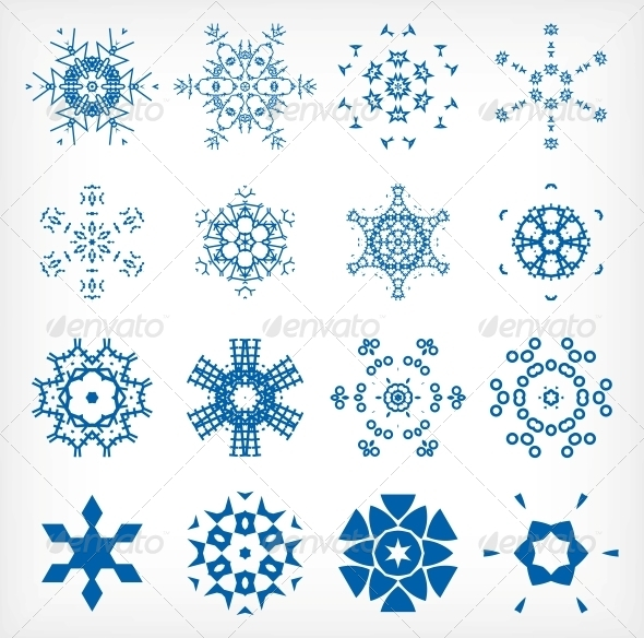 Set of Isolated Snowflakes for Christmas Decor - Christmas Seasons/Holidays