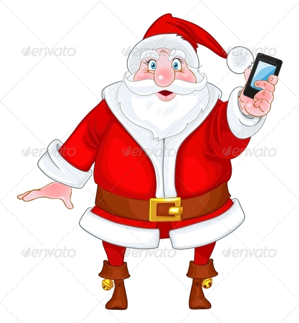 Santa Claus with a Smart Phone - New Year Seasons/Holidays