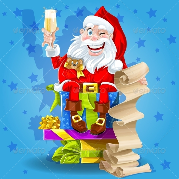 Santa Claus with Gifts and Champagne - New Year Seasons/Holidays