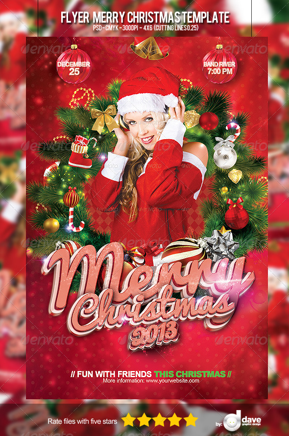 Flyer Merry Christmas Template - Holidays Events