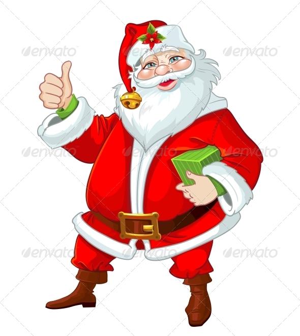 Cute Santa Claus with Gift - New Year Seasons/Holidays