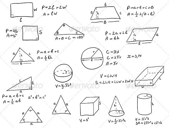 Hand Written Geometry Formulas - Backgrounds Decorative