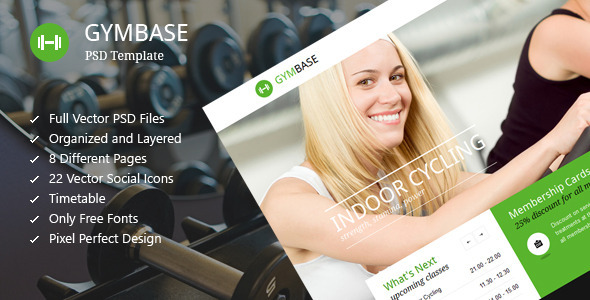 GymBase – Gym Fitness PSD Template