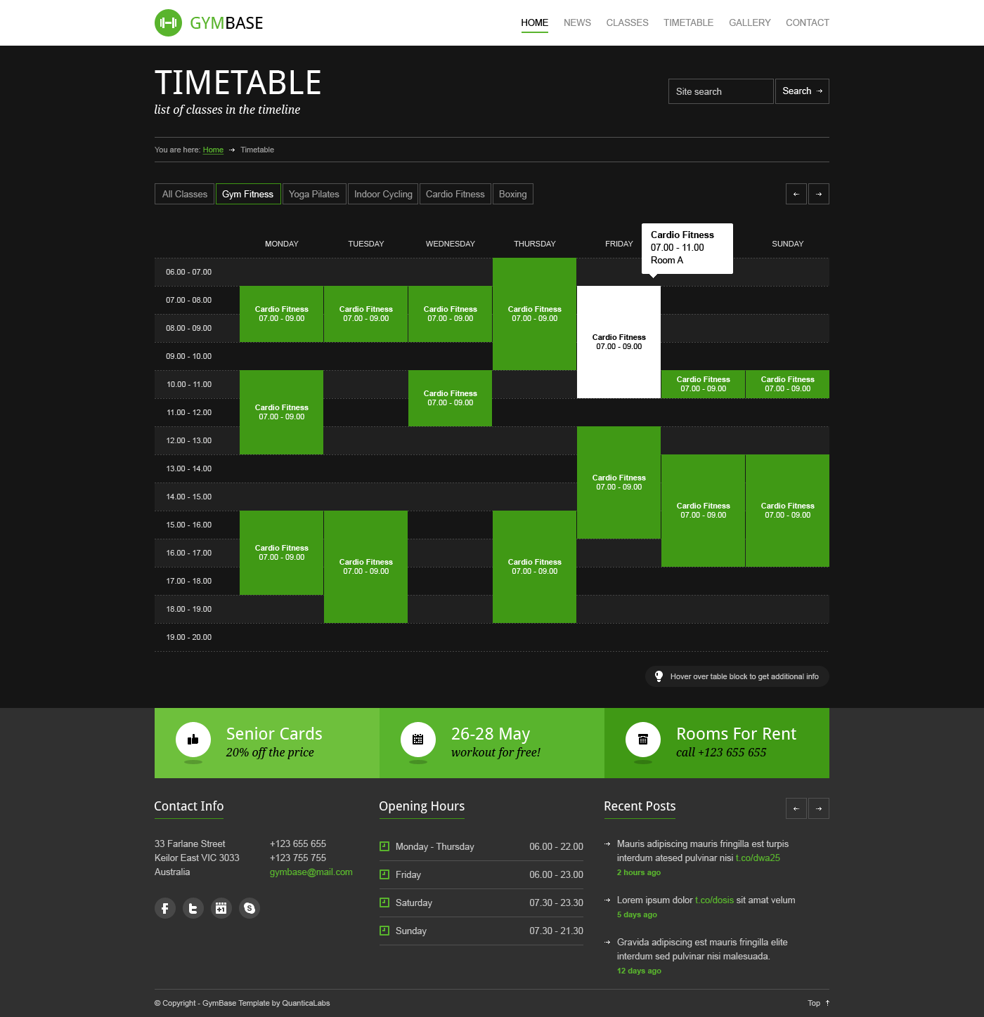 fitness timetable template