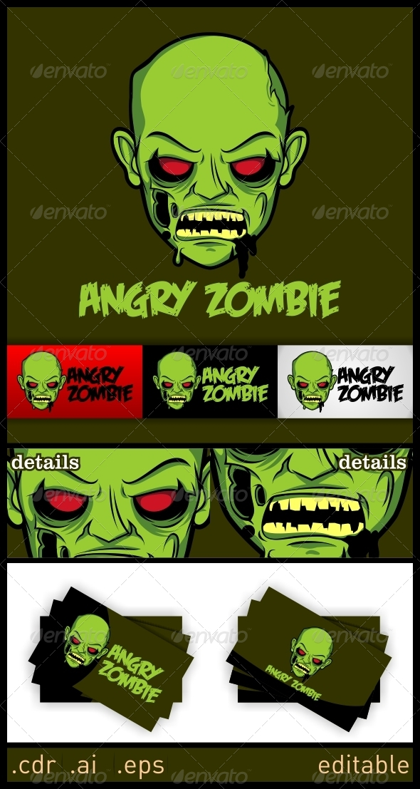 Angry Zombie Logo - Humans Logo Templates