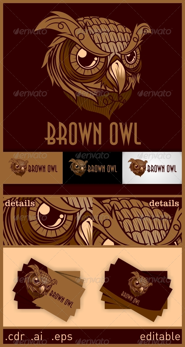 Brown Owl Logo - Animals Logo Templates