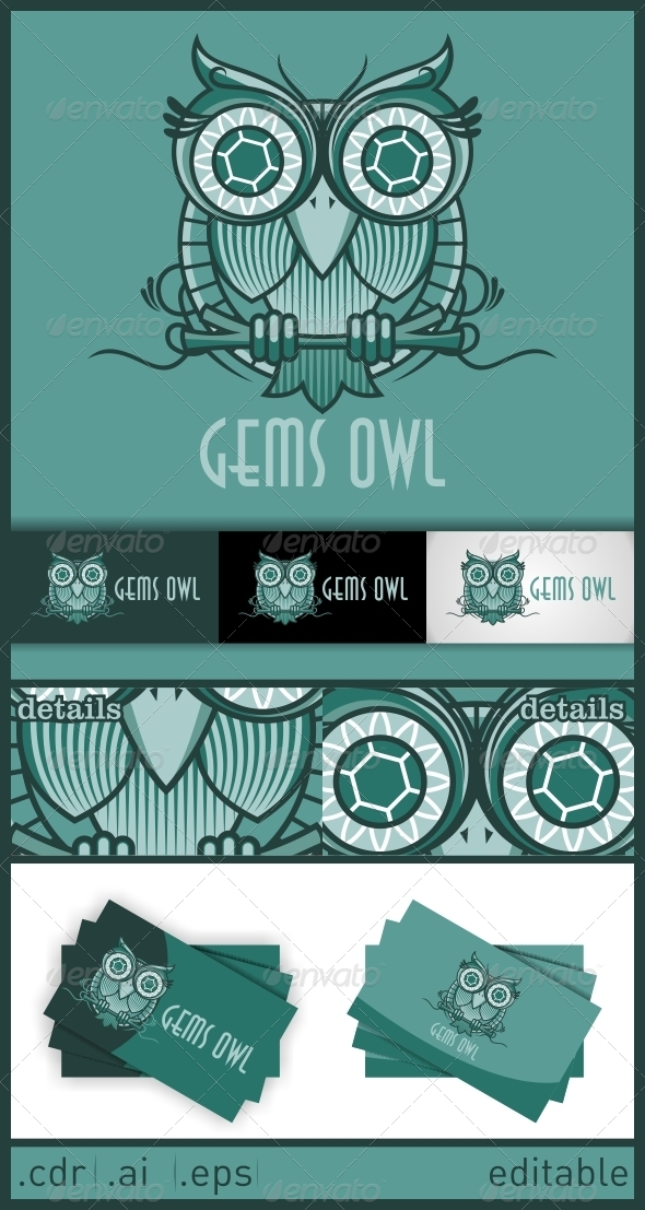 Gems Owl Logo - Animals Logo Templates