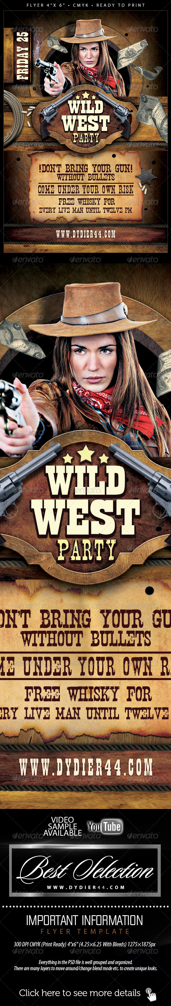 Wild West (Flyer Template 4x6) - Clubs & Parties Events