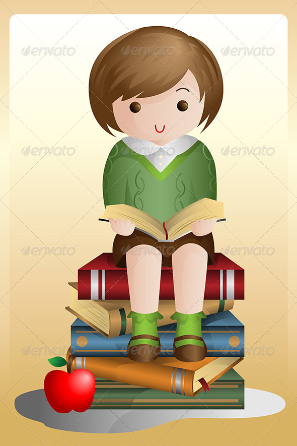 Young Student Reading - People Characters