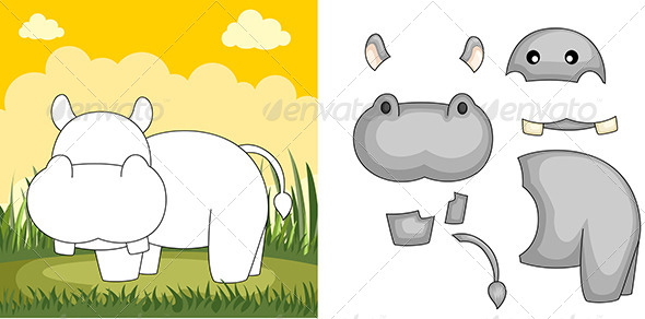 Hippo Puzzle - Animals Characters