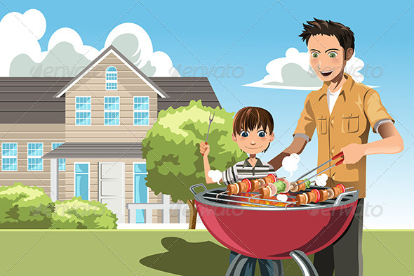 Father and Son doing Barbecue - People Characters