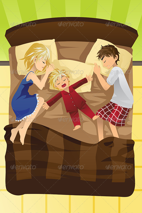 Parents Sleeping with Child - People Characters
