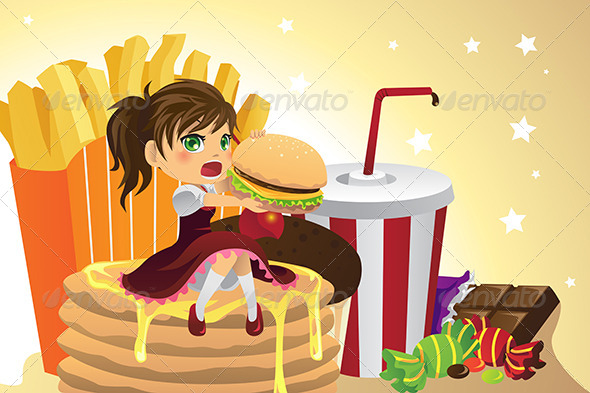 Girl Eating Junk Food - Food Objects