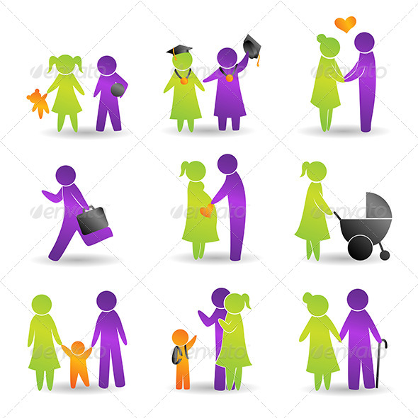 Life Events Icons - People Characters