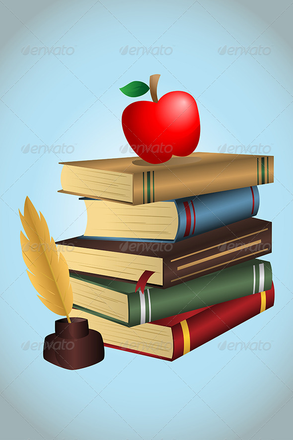 Books and Apple - Objects Vectors