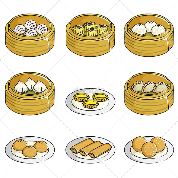 Chinese Dim Sum Icons - Food Objects