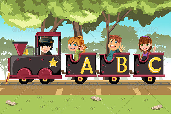 Kids Riding Alphabet Train - People Characters