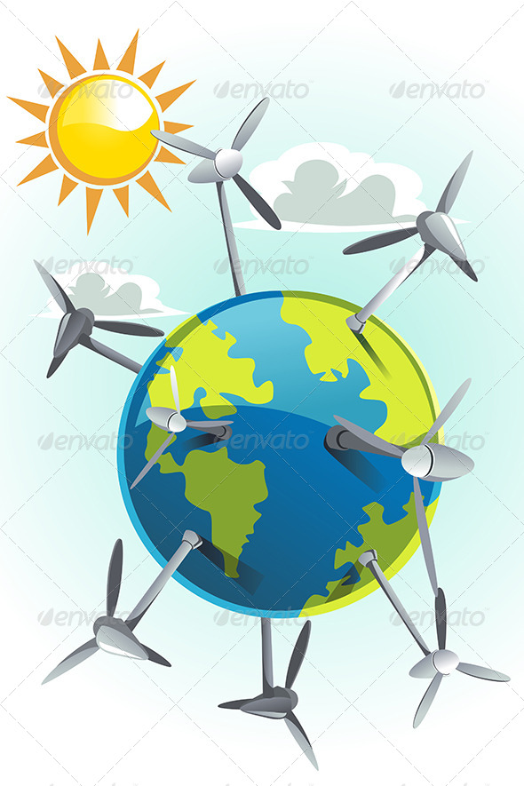 Wind Turbines on Earth - Conceptual Vectors