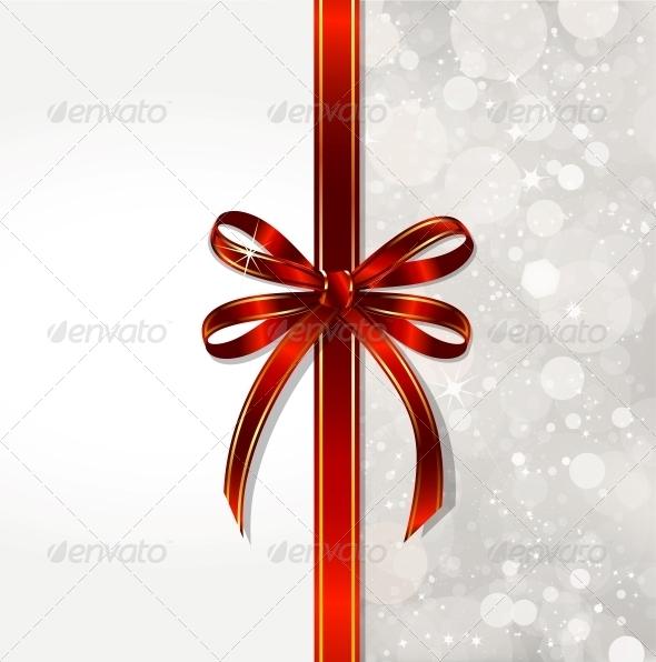 Red Bow on a Magical Christmas Over - Christmas Seasons/Holidays