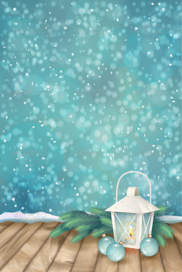 Vector Winter Christmas Scene Background - Christmas Seasons/Holidays