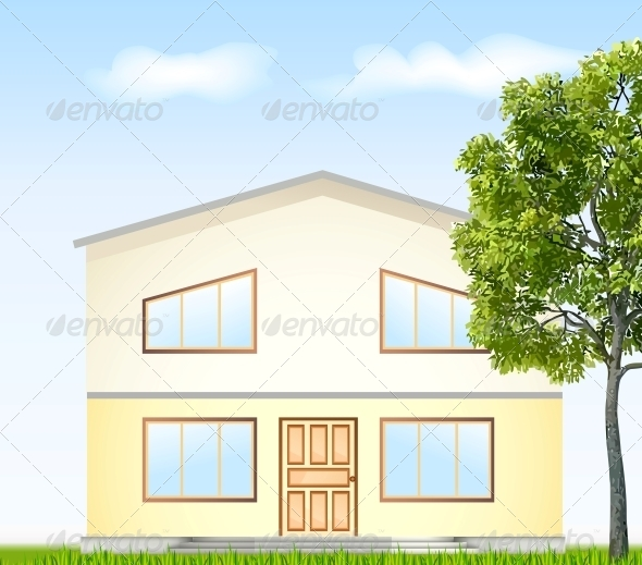 Facade with Tree - Buildings Objects