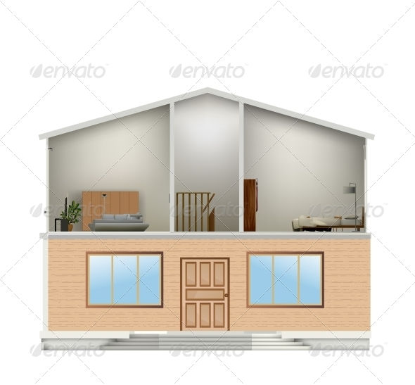 House Cut with Interiors and Part Facade - Buildings Objects