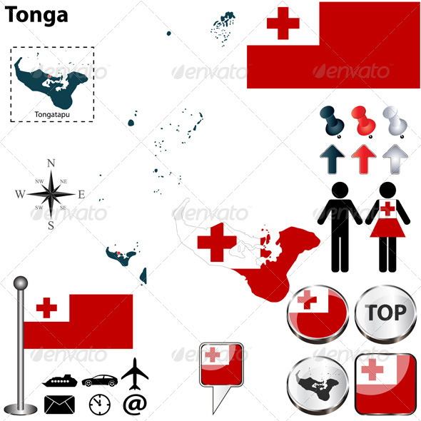 Map of Tonga - Travel Conceptual