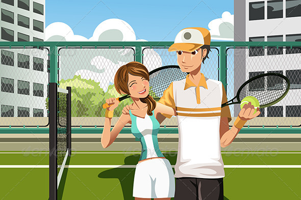 Couple Playing Tennis - Sports/Activity Conceptual