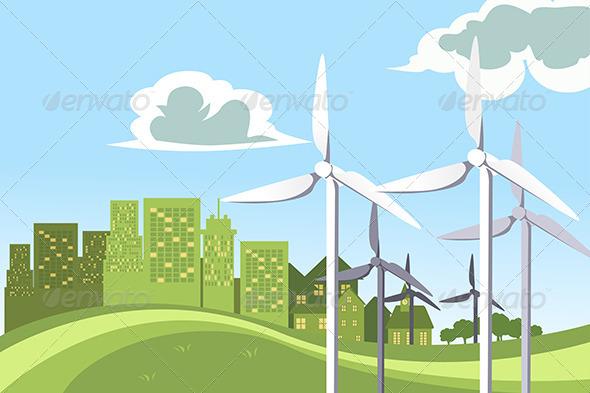 Wind Turbines Power - Conceptual Vectors