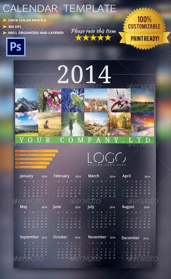 2014 Calendar Template By Pmvch Graphicriver