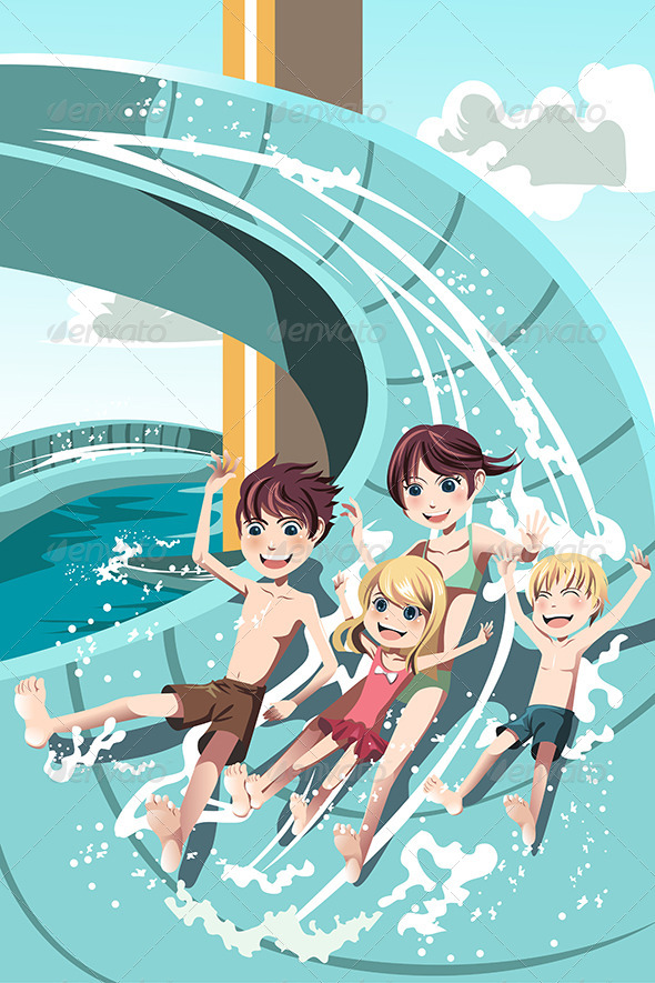 Kids Playing in Water Slides - People Characters
