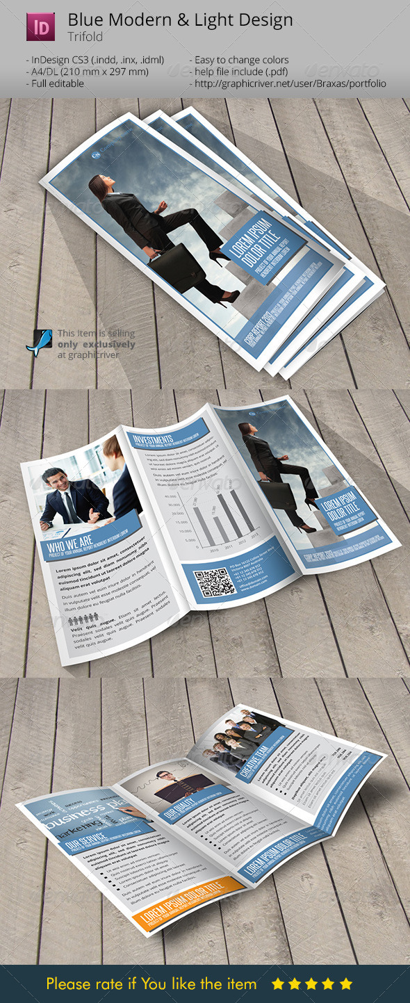 Blue Business Indesign Template Brochure - Corporate Brochures